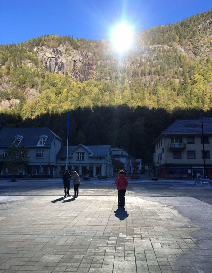 shining sun mirror in Rjukan Norway