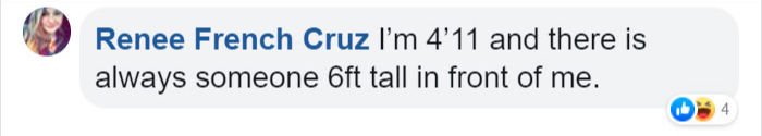 short person commenting on one foot taller periscope glasses