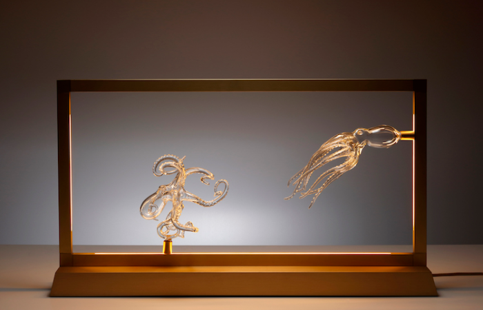 simone crestani blown glass sculptures in frame