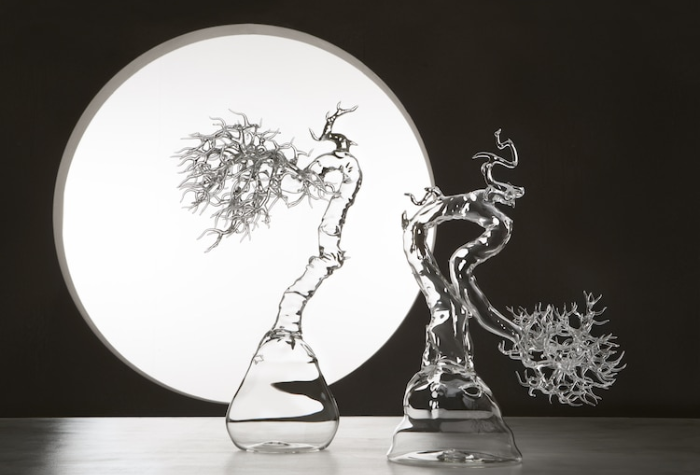 simone crestani blown glass sculptures trees by the moonlight