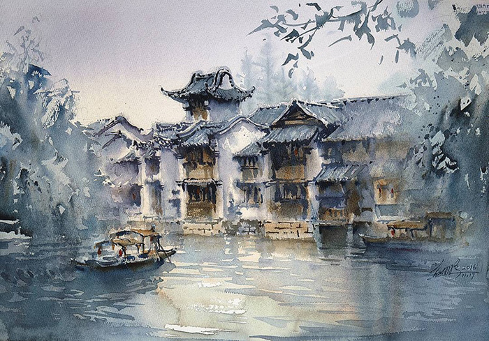 spectacular watercolor paintings cities