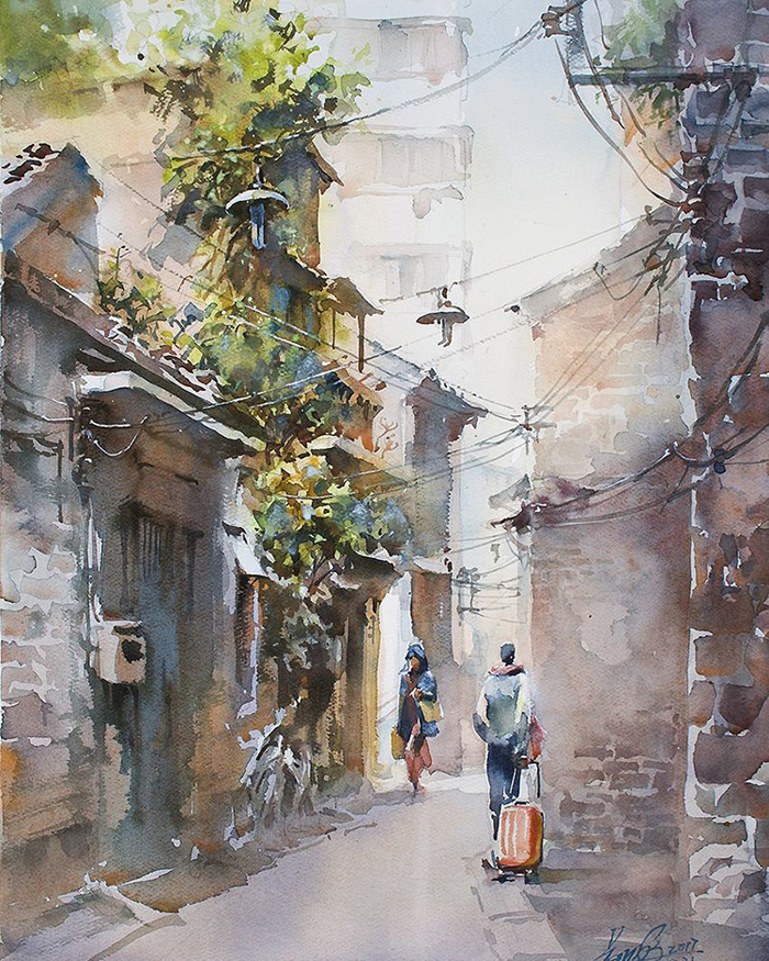 spectacular watercolor paintings city life