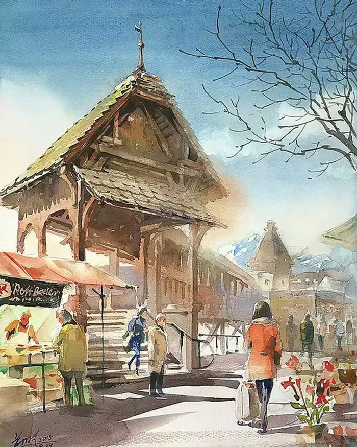 spectacular watercolor paintings city setting