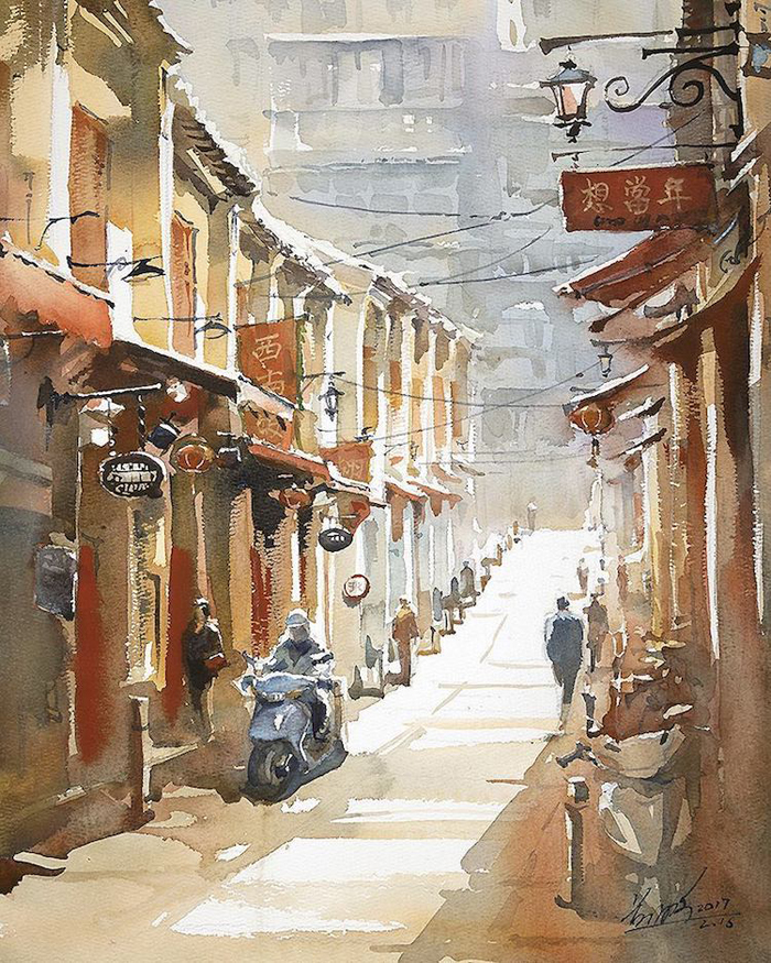 spectacular watercolor paintings cityscapes