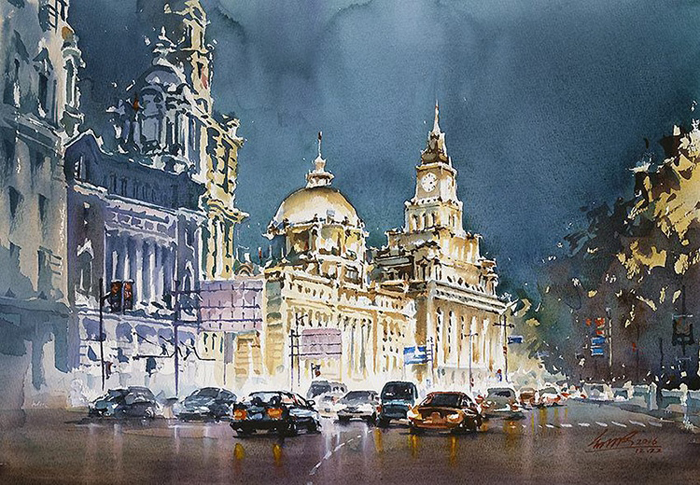 spectacular watercolor paintings kwan yeuk pang night city