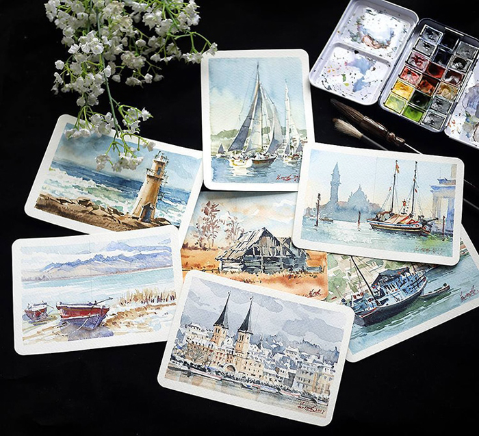 spectacular watercolor paintings limited palette