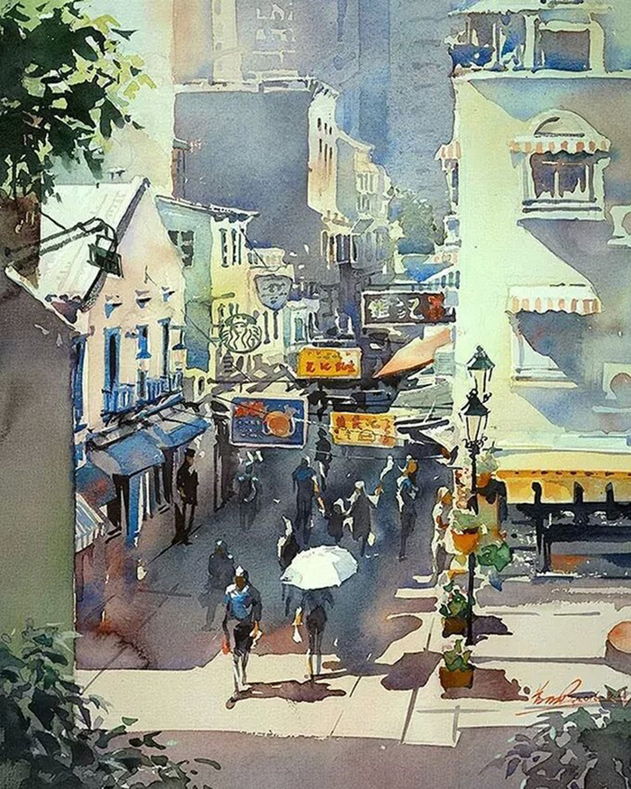 spectacular watercolor paintings sunny city