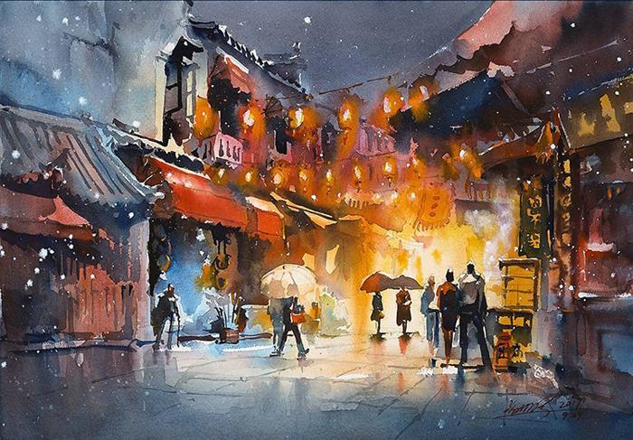 spectacular watercolor paintings urban sketching