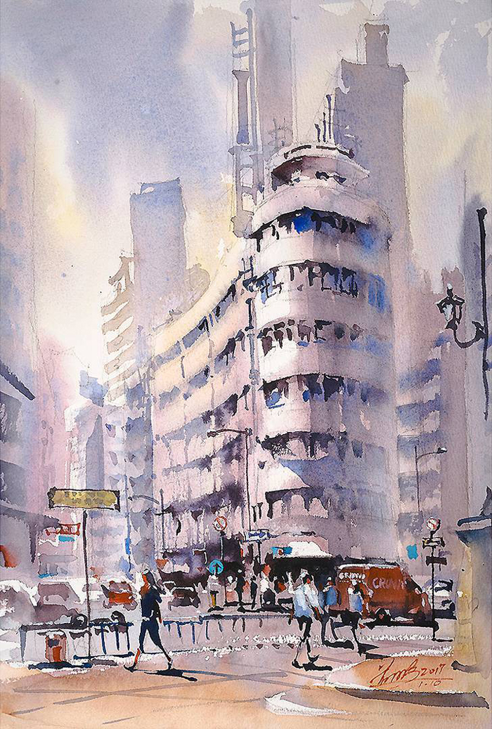 spectacular watercolor paintings winter city