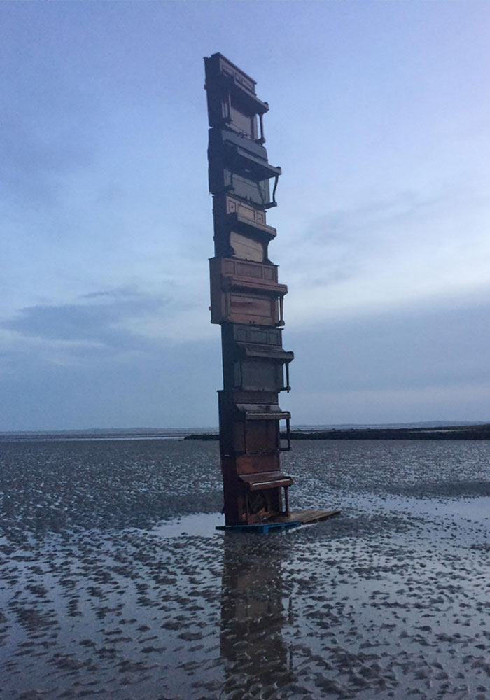 stack of pianos - interesting beach things