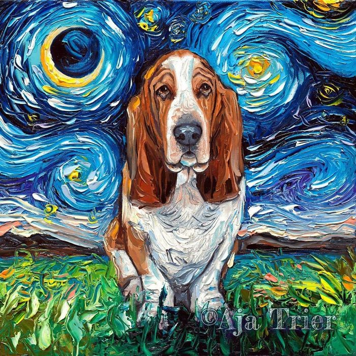 starry night dog series aja trier van gogh-inspired