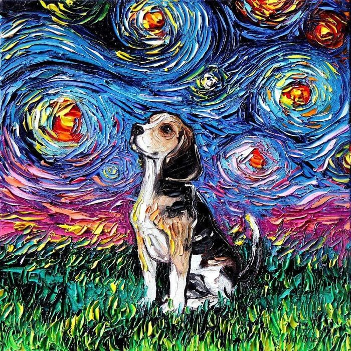 starry night dog series beagle