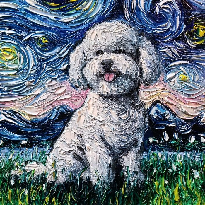starry night dog series bichon frise