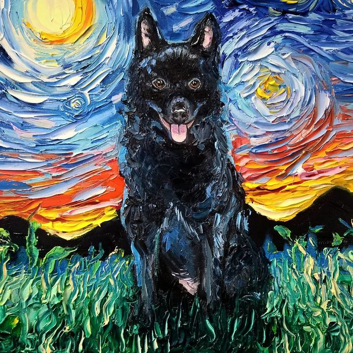 starry night dog series black fur