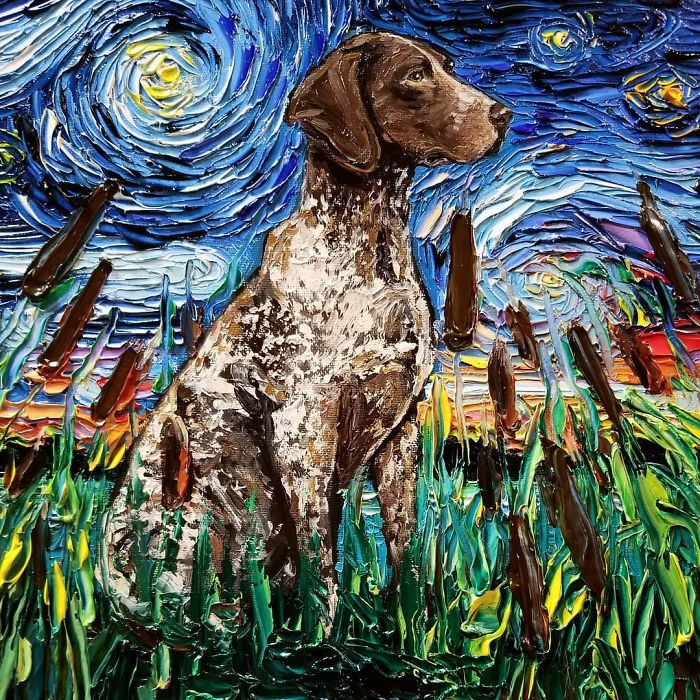 starry night dog series cattails