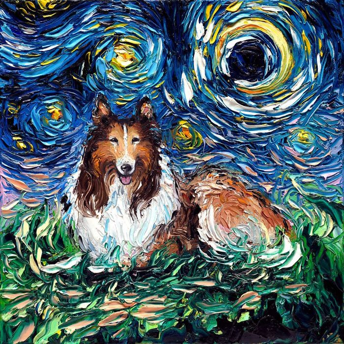 starry night dog series collie