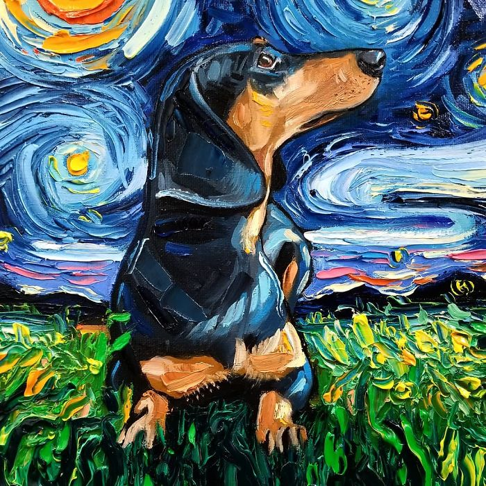 starry night dog series dachshund