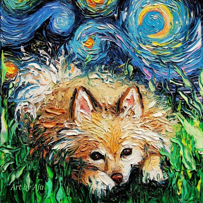 starry night dog series furry