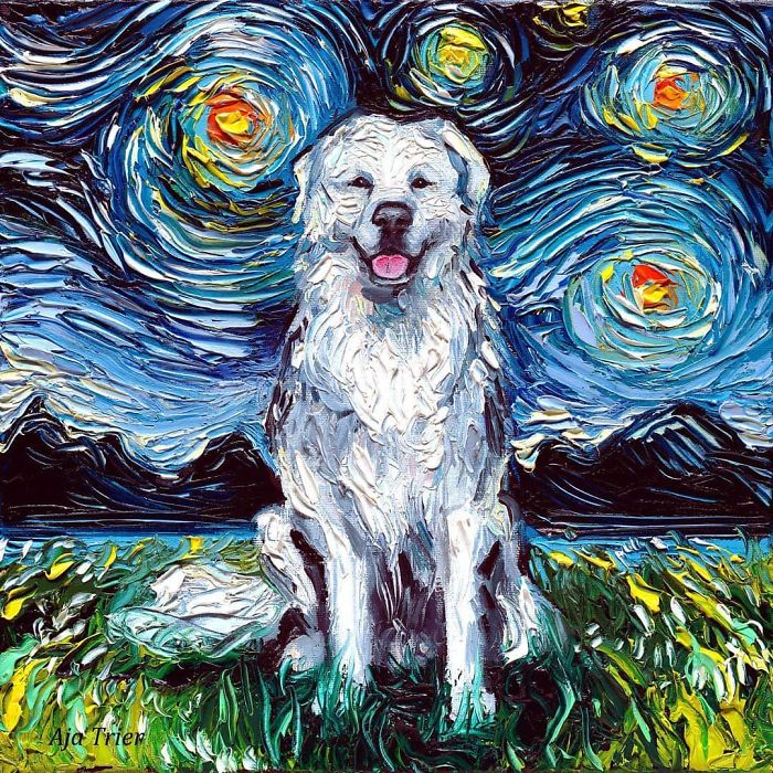 starry night dog series great pyrenees