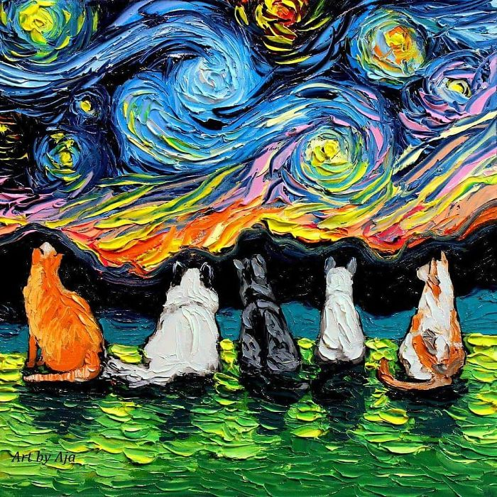 starry night dog series group