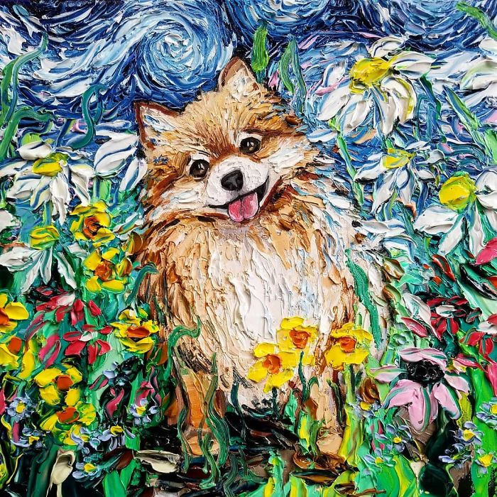 starry night dog series happy pup