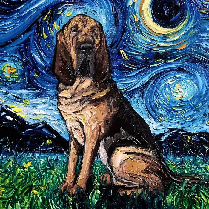 starry night dog series hounddog