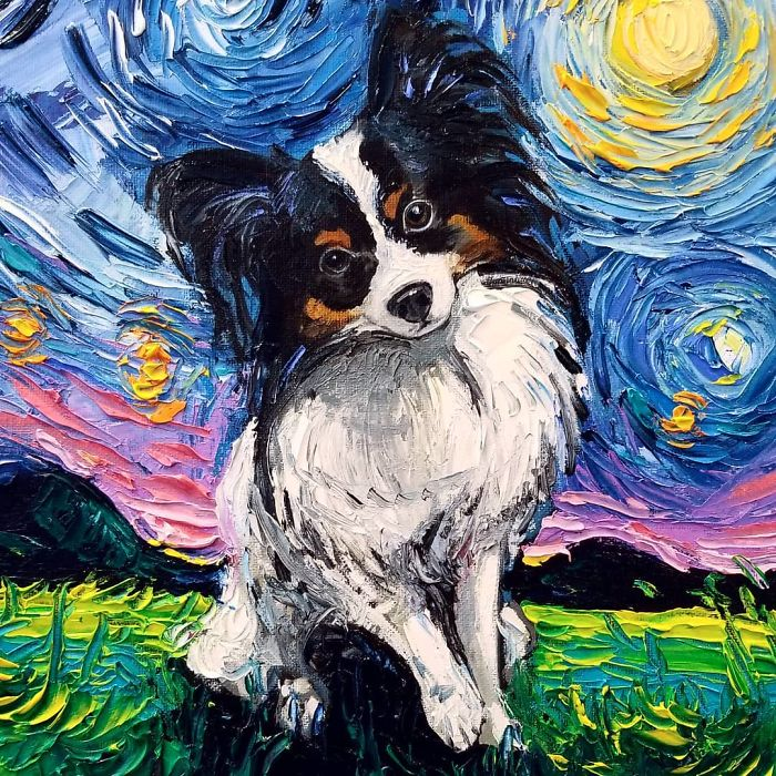 starry night dog series papillon