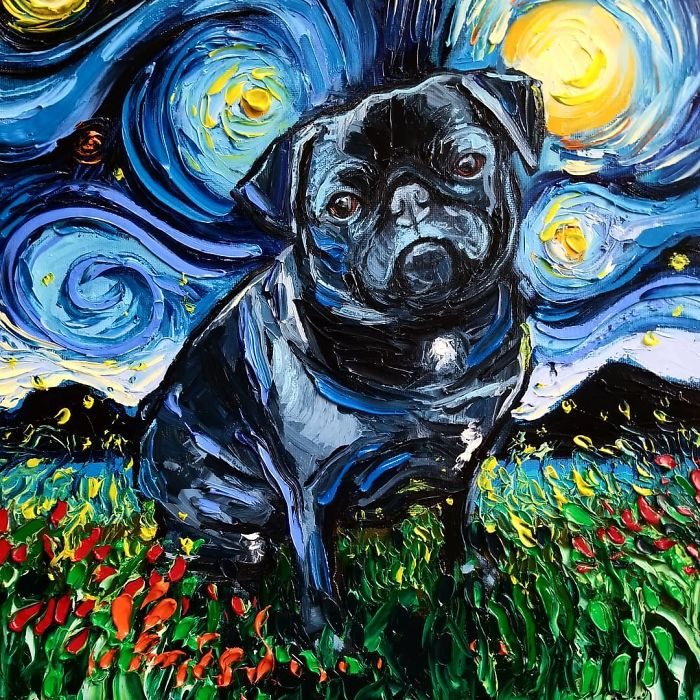 starry night dog series post-impressionism