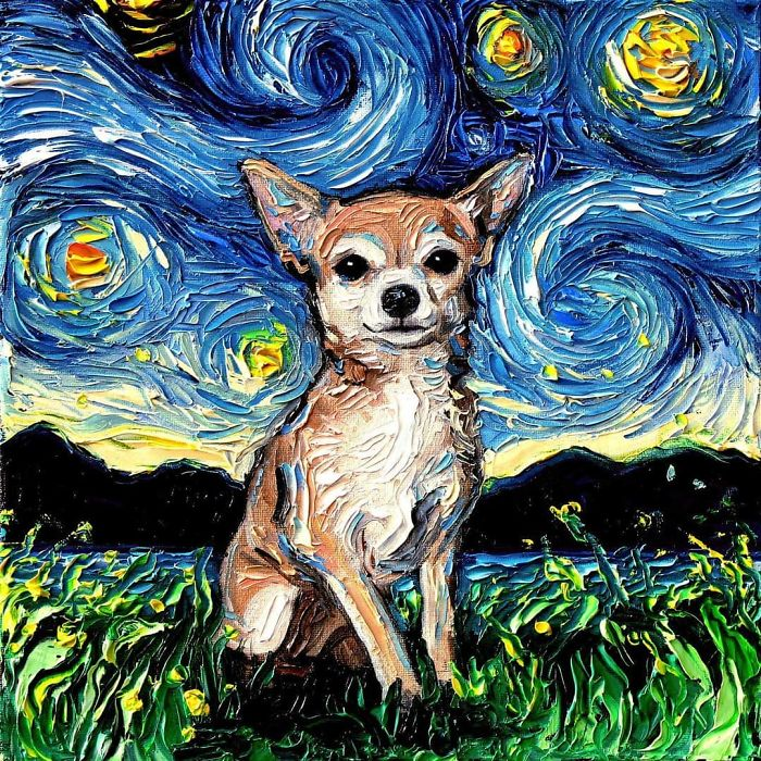 starry night dog series pup
