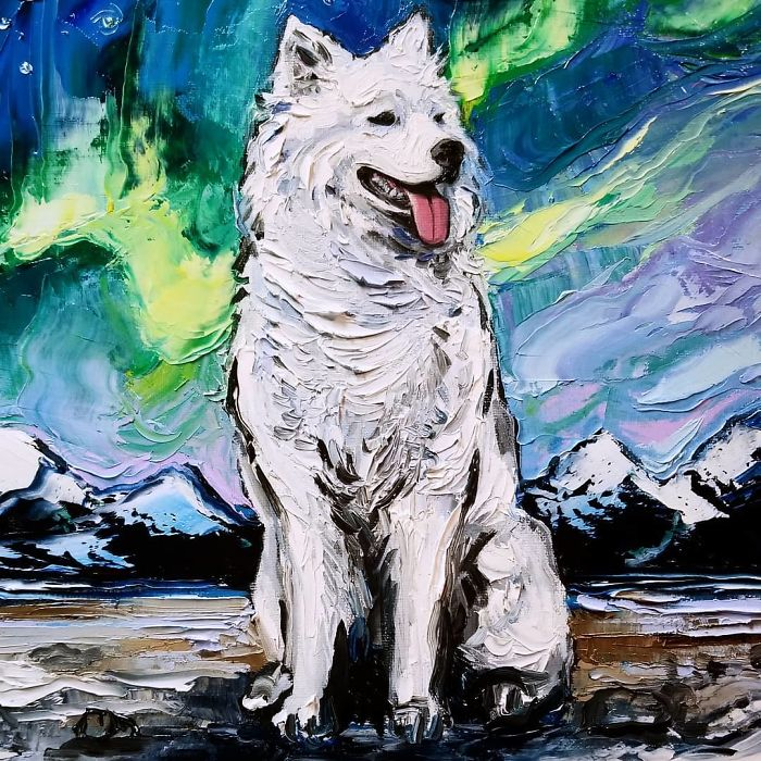 starry night dog series thick fur