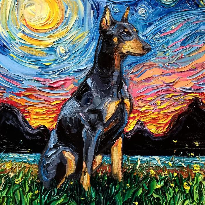 starry night dog series thick paint