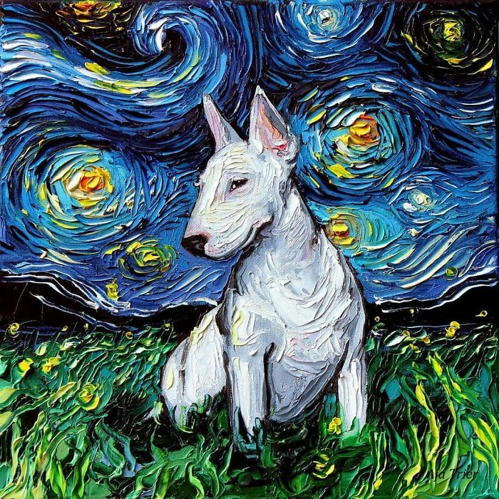 starry night dog series van gogh never