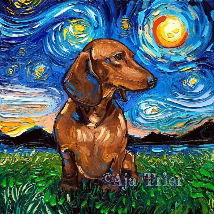 starry night dog series wiener dog