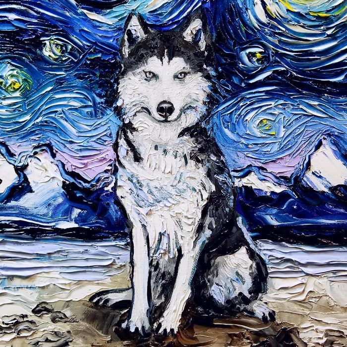 starry night dog series winter-themed