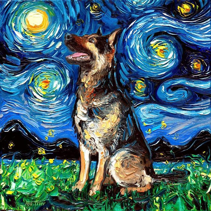 starry night dog series