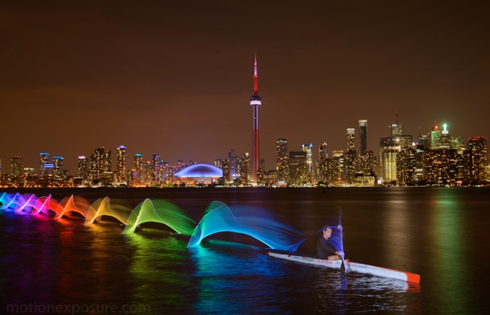 stephen orlando kayak light paintings city view