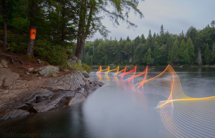 stephen orlando kayak light paintings pines
