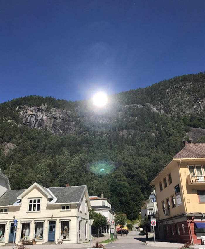 sunlit day with sun mirrors in Rjukan Norway
