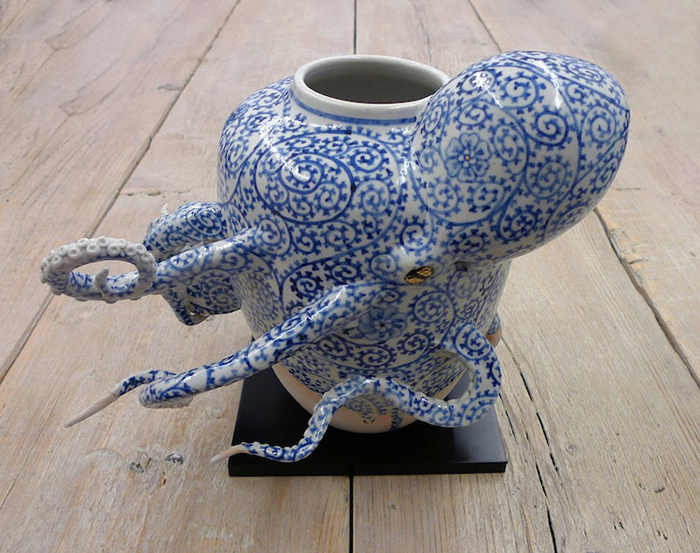 surreal ceramic vessels octopus sculptures