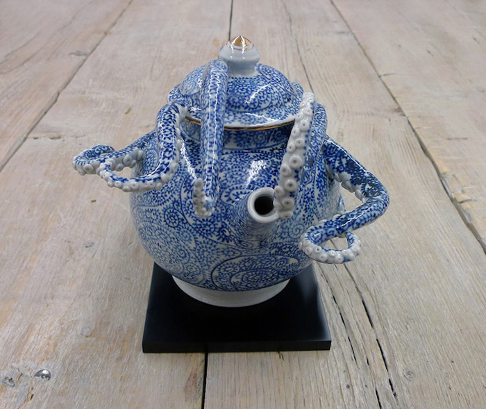 surreal ceramic vessels octopus teapot