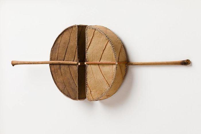 susanna bauer dried leaves crochet art halves ii