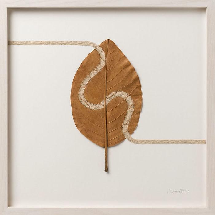 susanna bauer dried leaves crochet art path iv