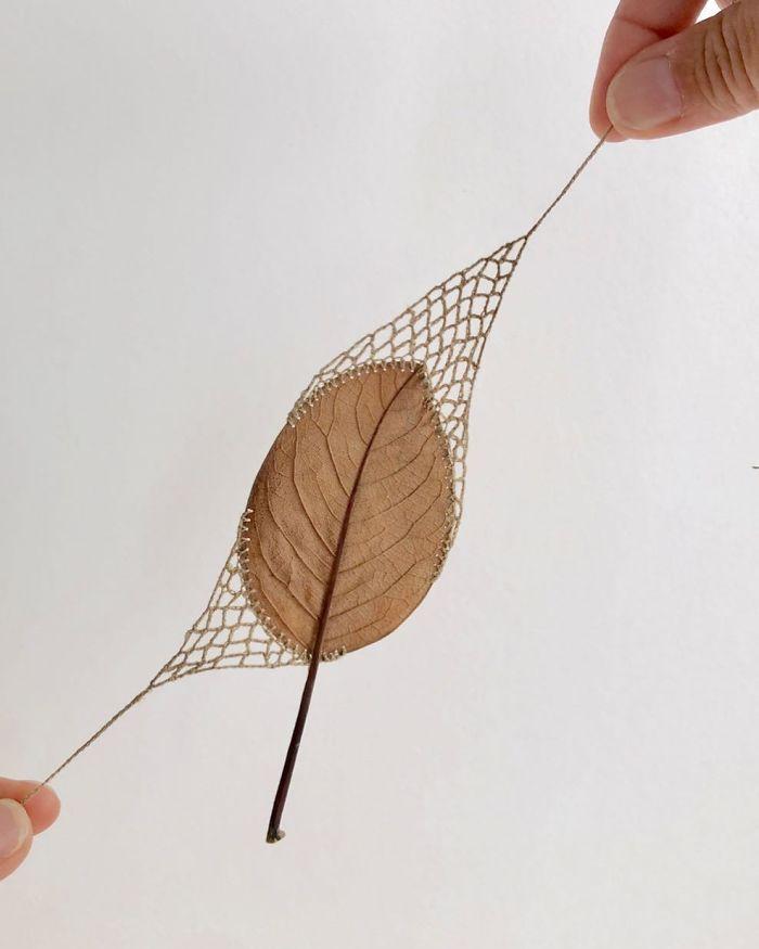 susanna bauer dried leaves crochet art pull