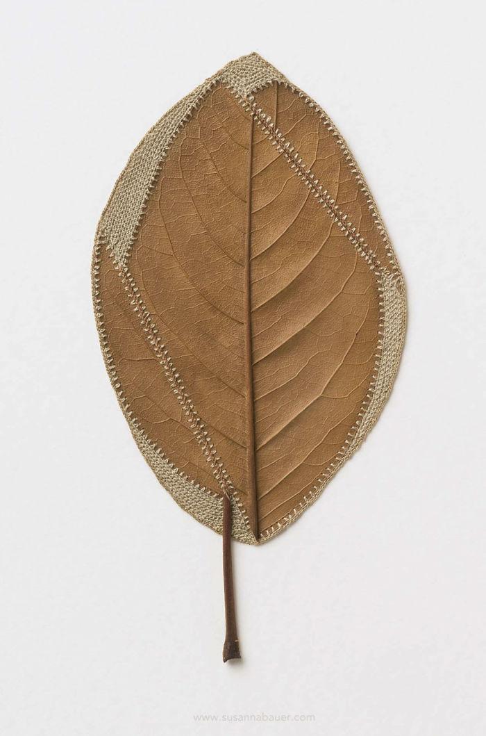 susanna bauer dried leaves crochet art realignment