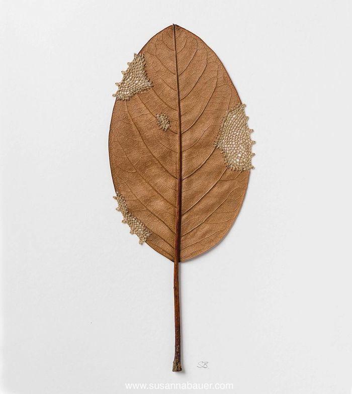 susanna bauer dried leaves crochet art restoration