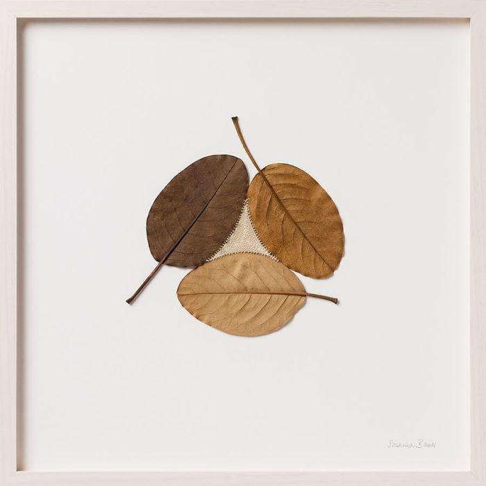 susanna bauer dried leaves crochet art three ii