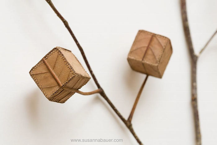 susanna bauer dried leaves crochet cube tree number 5