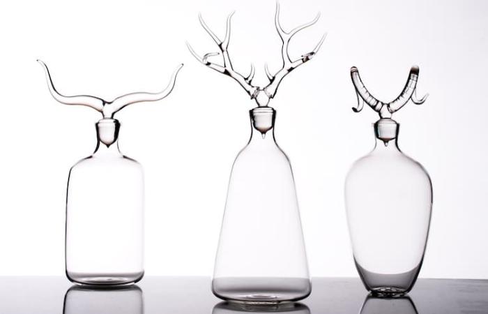 three simone crestani blown glass sculptures