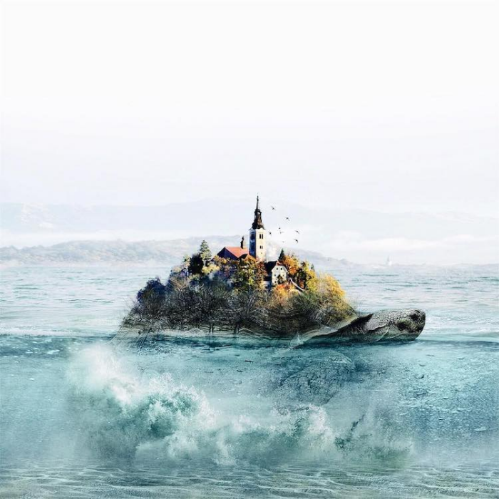 town floating on ocean waves surrealism photography luisa azevedo