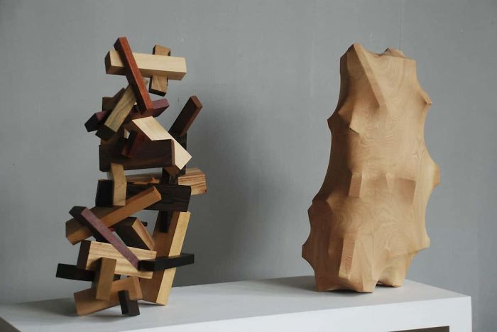 tung ming chin amazing wood sculptures changes inside the forest